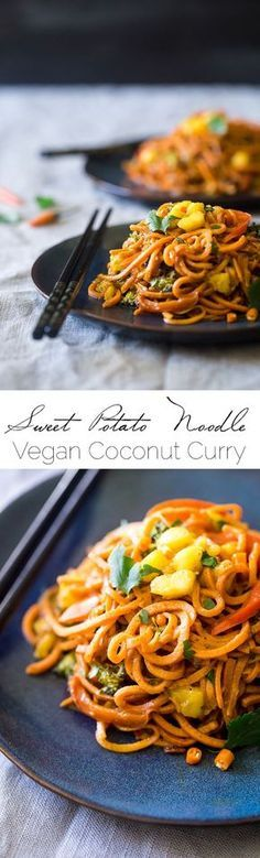 Vegan Coconut Curry with Spiralized Sweet Potato Noodles – This curry is ULTRA creamy and loaded with veggies, for a quick and easy, healthy dinner that is gluten free and vegan friendly! | Foodfaithfitness.com | @FoodFaithFit