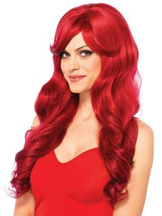 Wigs, Red Wigs, Costume Wigs, Red Costume Wigs, Little Mermaid Wig Red Costume, Costume Wigs, Cosplay Wigs, Cosplay Costumes, Mermaid Wig, Long Side Bangs, Celebrity Costumes, Wig Party, Long Red Hair