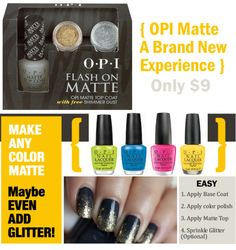 OPI Matte Top Coat with FREE shimmer dust!