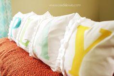 Monogram ruffled pillows. Love!