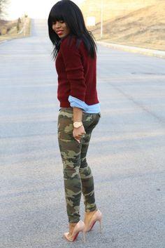 camo pants, blue button down, burgundy sweater & nude heels. Black Fashion Bloggers, Fashion Blogger Style, Look Fashion, Fashion Trends, Fashion Ideas, Cheap Fashion, Fashion Styles, Fashion Women, High Fashion