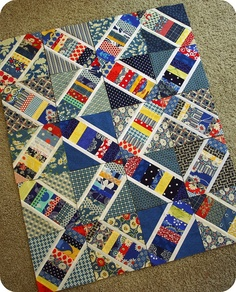 Great variation on X-string block. Nice use of white to create a secondary design. Cute Quilts, Scrappy Quilts, Baby Quilts, Quilt Block Patterns, Pattern Blocks, Quilt Blocks, Quilting Projects, Quilting Designs, Quilting Ideas