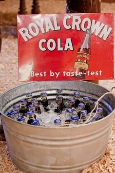 Rustic Wedding Ideas For Drinks....could fill it up with cans of sweet tea or water
