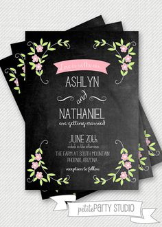 PARTY PRINTABLE Vintage Chalkboard Wedding by PetitePartyStudio