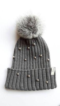 fb7e8db1b00  etsy shop  Merino winter hat with rabbit pompon and swarovski pearls http