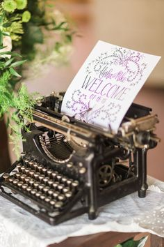 Welcome guests to a country wedding with a vintage typewriter. This barn venue is perfect location for someone who plans to have rustic decor on their big day.