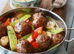 Sweet and Sour Asian Meatballs with Vegetables  YIELD: approximately 24 meatballs - serves 4 - 6