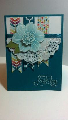 Happy Birthday card using one of my favorite colors from Stampin' Up ~ Island Indigo. Also showcases the Sycamore Street DSP and the Secret Garden Stamp Set and Framelits.