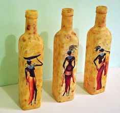 Painting Glass Jars, Painted Glass Bottles, Glass Bottle Crafts, Wine Bottle Art, Diy Bottle, Bottle Painting, Diy Painting, Glass Art, Pottery Painting Designs