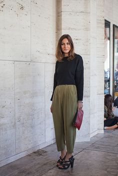 Where do you work?Fashion Designer and contributor at Grazia MagazineWhat show are you going to? Rebecca MinkoffWhat are you wearing? Zara(top), Vintage(pants), Balenciaga(shoes), and Proenza Schouler(bag). via StyleList