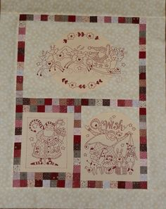 quilting plus redwork-style embroidery. A different section of the website includes pattern as a PDF