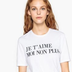 French Slogan Cotton T-Shirt La Redoute Collections Product details Coats For Women, T Shirts For Women, M Color, Slogan, Bleach, Crew Neck, Delicate, Short Sleeves, Advice