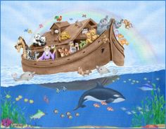Noah's Ark by Penny Parker Penny Parker, Art Pictures, Photos, Fox Art, Kirchen, Animals For Kids, Cute Art, Art For Kids, Illustration Art