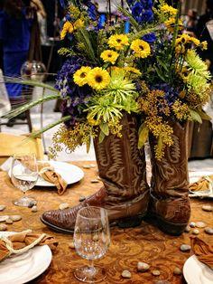 Cowboy Theme, Cowboy Party, Western Theme, Western Decor, Western Cowboy, Cowboy Boot Centerpieces, Western Wedding Centerpieces, Rustic Centerpieces, Centerpiece Table