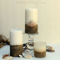 Sand-Dipped DIY Candles | AllFreeDIYWeddings.com