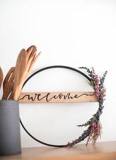 DIY Fall Hoop Wreath- love that wooden banner across the wreath! : DIY Fall Hoop Wreath- love that wooden banner across the wreath! Diy Fall Wreath, Fall Diy, Fall Wreaths, Floral Wreaths, Wreath Ideas, Decor Crafts, Diy Home Decor, Fall Room Decor, Corona Floral