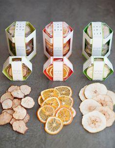 Hexagonal prism packaging / Simple & Crisp (via @The Dieline) — very unique, lets the product shine!