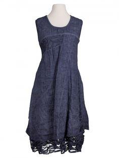 Damen Leinenkleid mit Spitze, blau von Spaziodonna bei www.meinkleidchen.de
