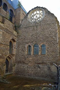 All about the South Bank in London. The remains of Winchester Palace Rose Arch window, London. Built in the 12th century