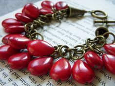 Charm Bracelet in Antique Brass and Lipstick Red Turquoise Teardrop Briolettes - Red Hot Mama