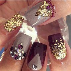 Stephanie Loesch @_stephsnails_ #plum#gold#chunky...Instagram photo   Websta (Webstagram)