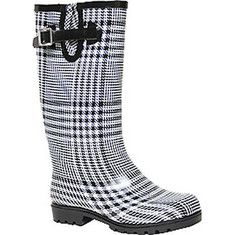Step in all the puddles you can find in these durable, water resistant, rubber rain boots.