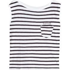 Zadig & Voltaire Frida Striped Tank ($87) ❤ liked on Polyvore featuring tops, stripes, black and white tank top, embroidered tank, black and white stripe top, stripe top and black and white striped tops