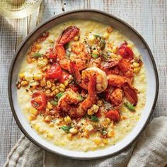In this fun twist on shrimp and grits, buttery creamed corn stands in for grits—a sweet and tasty surprise. The shrimp mixture takes on b...