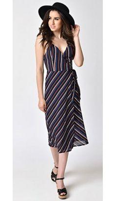 4133cd2cbb 1970s Style Black   Multi-Stripe Spaghetti Strap Midi Wrap Dress 1920s Dress