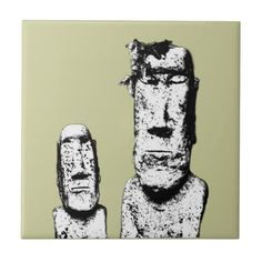 Two Stone Heads (the Eds) ceramic tile      Found on -http://wonderpiel.com/