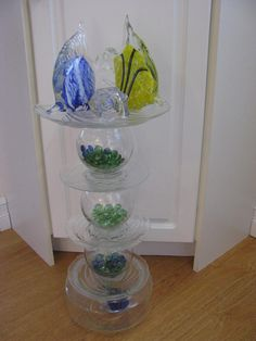 Somethin's Fishy! Flower Tower, Glass Vase, Patio, Garden, Pretty, Flowers, Home Decor, Homemade Home Decor, Yard