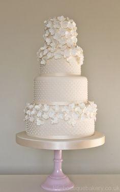 Hydrangea , Pearls White Wedding Cake