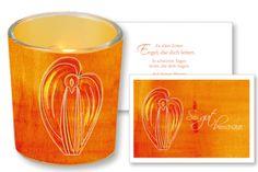 """#Windlicht aus Glas mit #Fotogrußkarte """"Sei gut beschützt"""" #Engel #LOGO"""