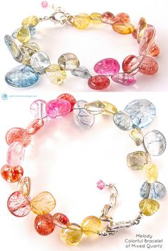 """Add a dash of lively color to your look with this stylish beaded bracelet of quartz gemstones. Fits 7"""" - 8.5"""" wrist. This colorful bracelet of mixed quartz is a fabulous piece for any occasion. It is"""
