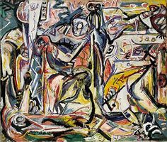 """Circumcision January"", Oil On Canvas by Jackson Pollock (1912-1956, United States)"