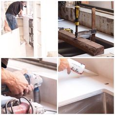 Stonemasonry specialists working like true craftsmen to transform our Lower North Shore custom-made kitchen renovation with magnificent Caesarstone benchtops. #kitchen #craftsmen #stonemasonry #stonemason #custommade #caesarstone #marble #toolsofthetrade #undermount #sink #benchtops #countertops #white #grey #interior #sydney #sydneybuilder www.buildingworksaust.com.au @buildingworksau #newsbuildingworksaust