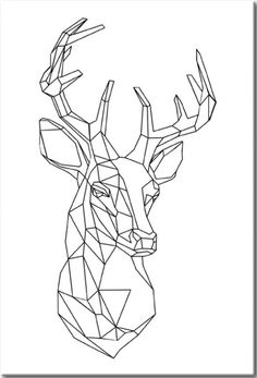 This item is unavailable Geometric Deer, Geometric Drawing, Geometric Shapes, 3d Zeichenstift, Animal Drawings, Art Drawings, Contour Drawing, Polygon Art, Deer Tattoo