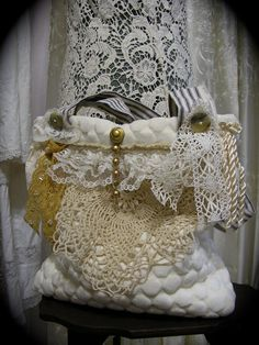 SummerSALE Handmade romantic Handbag shabby n door TatteredDelicates, $45.00