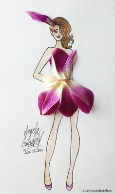 pinturas de mujeres con vestido de flores - Buscar con Google