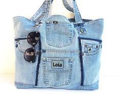 DENIM BAG, LOIS Recycled jeans bag, jeans tote, denim tote, shoulder bag, large bag, blue handbag, beach bag,shopper, casual bag
