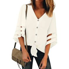 Blouses, V Neck Half Sleeve Button Chic Blouses Womens Fashion Online, Latest Fashion For Women, Cheap Blouses, Loose Tops, Half Sleeves, Gender Female, Chiffon Tops, Sleeve Styles, V Neck
