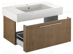 Vanity cabinet reference: extra deep drawer to fit around piping OR doors, note ultra slim handle