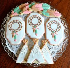 Bohemian Themed Baby Shower by Kelley Hart Custom Cookies