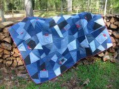 denim quilt block - inspiration only Denim Quilt Patterns, Denim Quilts, 3d Quilts, Patchwork Jeans, Bandana Quilt, Red Bandana, Blue Jean Quilts, Pinwheel Quilt, Denim Ideas