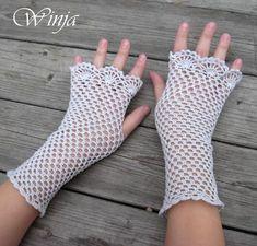 Mitones de ganchillo crochet guantes sin dedos por OnGoodLuck