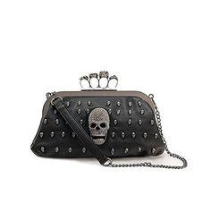 Tinksky Cool Skull Knuckle Ring Soft PU Handbag Tote Bag Shoulder Bag Evening Clutch Bag Party Bag, Valentine's Day gift
