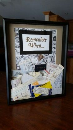 A fun way to display old ticket stubs and memorabilia #boyfriendgifts