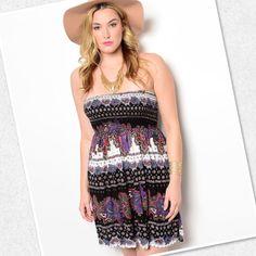 Plus Sized Strapless Dress