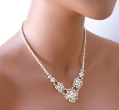 Beaded Pearl V Necklace Bridal Jewelry Wedding by MelJoyCreations