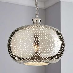 Designed with an intricate punch holed pattern, this circular ceiling pendant is fashioned in a champagne colourway and will make a striking statement in any living space. Lounge Ceiling Lights, Lounge Lighting, Ceiling Light Design, Flush Lighting, Home Lighting, Pendant Lighting, Light Pendant, Lighting Sale, Hall Lamps